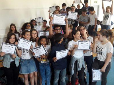 Les 5e du collège du HAUT MESNIL (Montrouge) célèbrent leurs résultats 2018