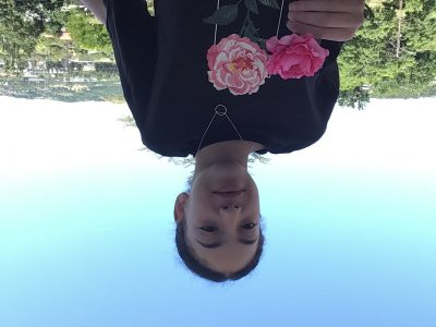 Ville:St Étienne  Nom du collège :Saint Michel   J'ai choisi de me prendre en photo avec une rose car c'est le symbole de l'Angleterre (Oui c'est une fausse on a fait avec les moyens du bords)