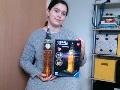 Stoppacher Laurane  à Aubagne  J'adore Big Ben, c'est une horloge magnifique, je l'ai déjà vu en 6ème mais en réparation. J'aime bien les puzzle 3D, j'ai celui de la tour Eiffel, une voiture de course et Big Ben. Big ben, je l'ai fait pendant le confinement. J'aimerai revoir Big Ben un jour et donc retourner à Londres. (ps : J'ai adoré ce voyage MMe Martin) J'ai bien aimé le big challenge de cette année.