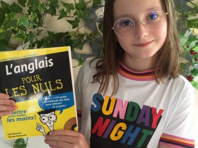 """BRUMATH, COLLEGE. Durinng confinement I learned English with this book """"L'anglais pour les nuls"""". I'm happy I did the BIG CHALLENGE :)"""