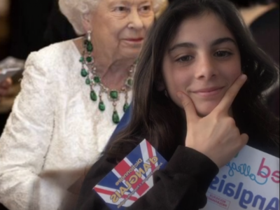 Corcos Chiara College Assomption Paris . This is a picture of me and The Queen Elizabeth, I think it is funny!! Hope you will enjoy it. Have a nice day,  Chiara Corcos