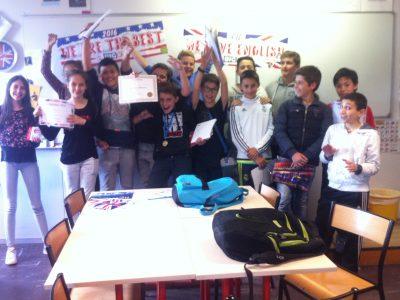 Collège Louis Pasteur Graulhet, classe de 5ème :The winners!