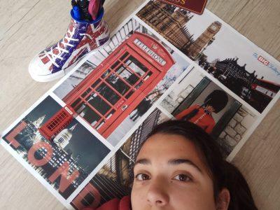 Collège Kervihan, Fouesnant J'ai gagné le poster au Big Challenge de l'année dernière et je suis allée en Angleterre, où j'ai acheté la mini cabine et la plaque de la voie 9 3/4 dans Harry Potter . Anna
