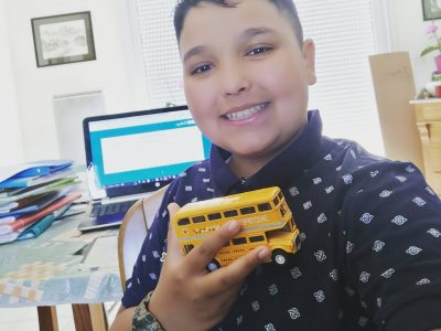 """Collège Sainte Famille, Amiens  """"I love British double decker buses even if mine is yellow :-)""""."""