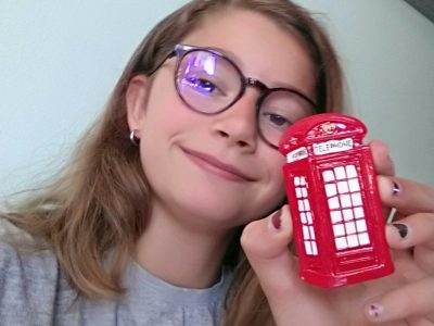Good morning,   My name is Flavie and I'm at the St-Jacques de Compostelle college.  For me the red telephone box is the best way to cheerfully reach the people I love because red is synonymous with love.  Thank you !