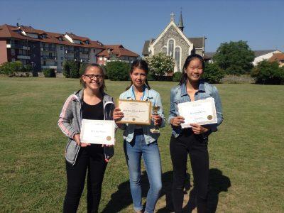 Collège du Sacré Coeur à Thonon les bains Les meilleures 5°: Elina, Julie et Léna