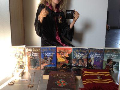 """Thumeries: Collège Albert Camus  J'adore Harry Potter! Et le seigneur des anneaux (il est écrit en anglais sur la photo). Mais ce que j'aime plus que tout c'est lire, j'ai donc décidé de le montrer en faisant une """"exposition"""" de livres."""