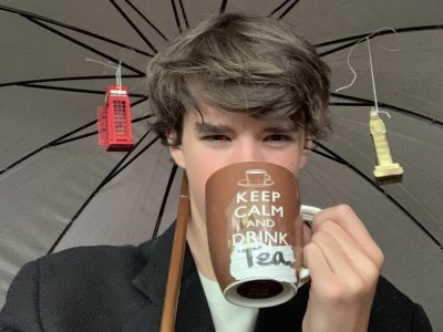 """ The London rain does not ruin my day because I keep calm and drink tea"". 