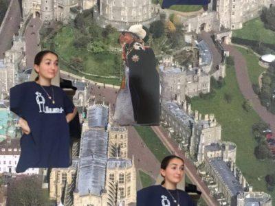 Albi, Sainte-Marie,  Ceci est moi arrivant au château impressionnée de voir la reine, la photo est une carte postal qui vient de Londres.