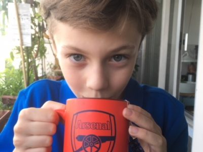 PARIS: Collège Raymond Queneau A football fan with a cup of tea