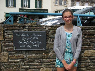 Collège St Sébastien - Landerneau I am standing next to the plaque of the twinning betweenn La Roche-Maurice and Bishopsteignton !