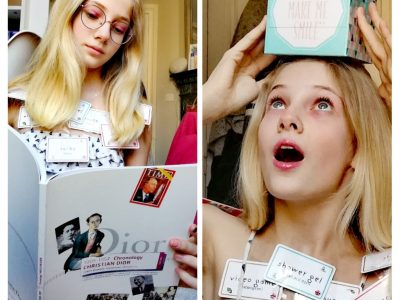 PARIS - COLLÈGE PIERRE ALVISET Un joli petit message posé sur ma tête,des petits mots anglais posés près de mon cou et entre mes mains,un livre anglais consacré à l'histoire de Christian Dior  :)
