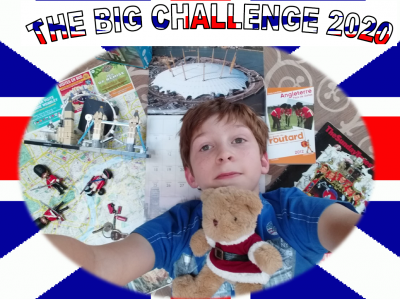 My name is Maxime Huart. I am in Saint Michel's Institut in Solesmes.  I had the chance to visit London with my family. I took a selfie in my bedroom to show you my tour.  On this picture, I wanted to show you my different objects and paper I had in England.  It was really nice to participate to the Big Challenge.  Have fun and take care of  you.  Maxime.
