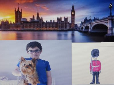 lesneven collège saint françois-notre dame .j'ai choisi une photo du big ben avec moi et mon chien et un dessin d'un garde anglais que j'ai dessiner,avec soin en faisant attention au détail.I like my photo