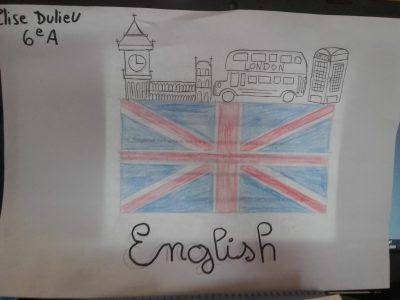 Collège Béthune Sully, Henrichemont Je n'ai jamais été en Angleterre alors j'ai fait un dessin représentant : Big Ben , le bus anglais et une petite cabine téléphonique rouge tout ça sur le fameux drapeau anglais ... J'espère que ce dessin vous plaira... Bonne continuation Elise Dulieu 6eA