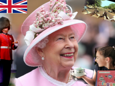 So British ... Tea time... sur un fond de Beatles ... avec La Reine Mère :)  Lila Biaugeaud 6°1 College André Fargeas/Lubersac