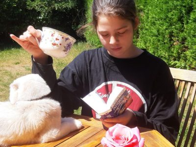 Pontoise, Notre dame de la Compassion.  Cup of tea in the garden.