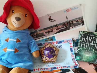 Collège Les Goussons à Gif-sur-Yvette .  Ma représentation de l'Angleterre avec un fameux livre Harry Potter et une boite de Chocolate Frog venant des studios Harry Potter. Paddington, l'ours mythique de l'Angleterre. Et le diplôme du Big Challenge 2019 avec le poster de l'an dernier.