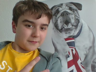 Avrillé, collège Clément Janequin.  Me and my dog Staley.