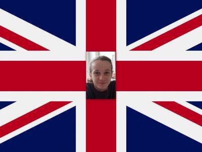Brest,Saint-Anne.Voici une photo  de moi sur un drapeau anglais que je trouve assez joli et qui est pour moi un beau symbole de ce pays.