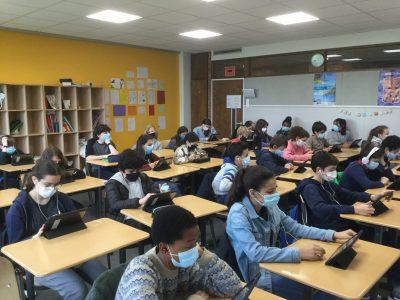 Paris 14 e, Collège La Bruyère Sainte Isabelle, classe de 5 e Top English Ambiance studieuse ce matin !