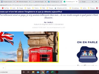 collège Eugène de la croix à Roissy en brie  Drapeau de l'Angleterre avec les cabines téléphonique