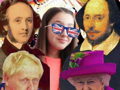 """Il s'agit du collége Notre Dame de Bourbourg. Sur cette image, où j'apparais, on retrouve plusieurs grandes figures d'Angleterre; La reine Elizabeth II, le premier ministre actuel Borris Johnson, l'écrivain emblêmatique britannique William Shakespeare, le génialissime, selon ma soeur, compositeur Félix Mendelssohn dit """"classique des romantiques"""" et adoré des anglais pour sa courtoisie, la fameuse reine Victoria, principale figure de l'époque victorienne, d'ailleurs issue de son nom, et enfin le roi aux six épouses, si on peut se permettre de l'appeler comme cela, Henry VIII. Aussi, vous pouvez observer en arrière plan le drapeau du royaume uni (d'ailleurs né sous Henry VIII) ainsi que des roses, symbole de la dynastie Tudor."""