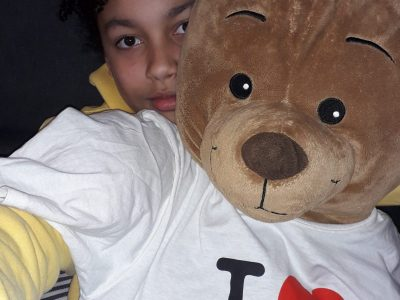 """ARCUEIL COLLEGE DULCIE SEPTEMBER """" my bear is gone to New York and he bring back a souvenir"""""""