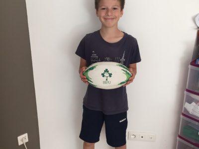 Pierrick THOMAS, Pontoise, Notre Dame de la Compassion, ballon de rugby (souvenir de Dublin)
