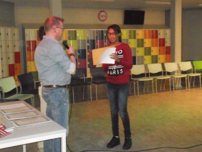The Emmacollege in Heerlen; Alexandra Corporan won the regional cup. We're very proud of her