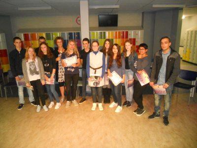 The Emmacollege in Heerlen: proud students and their teacher