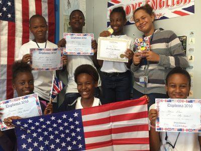 College Courbaril de Pointe Noire, Guadeloupe. Tous heureux de leur participation et leurs récompenses.