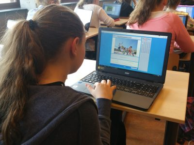 First year student concentrating on her questions at The Agnieten College in Wezep, The Netherlands